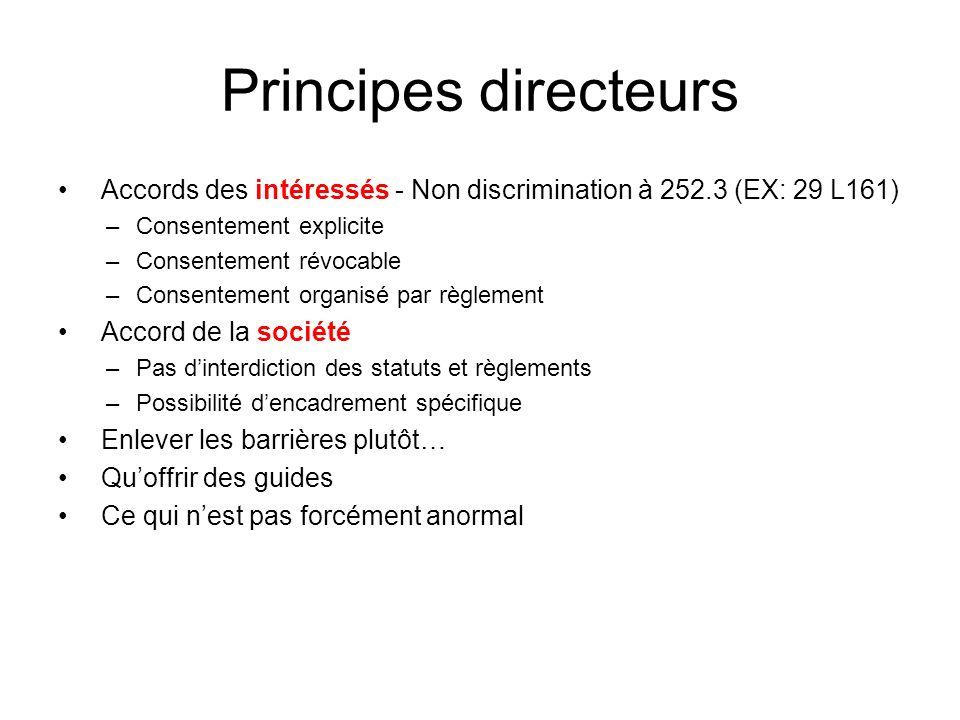 Principes directeurs Accords des intéressés - Non discrimination à 252.3 (EX: 29 L161) –Consentement explicite –Consentement révocable –Consentement o