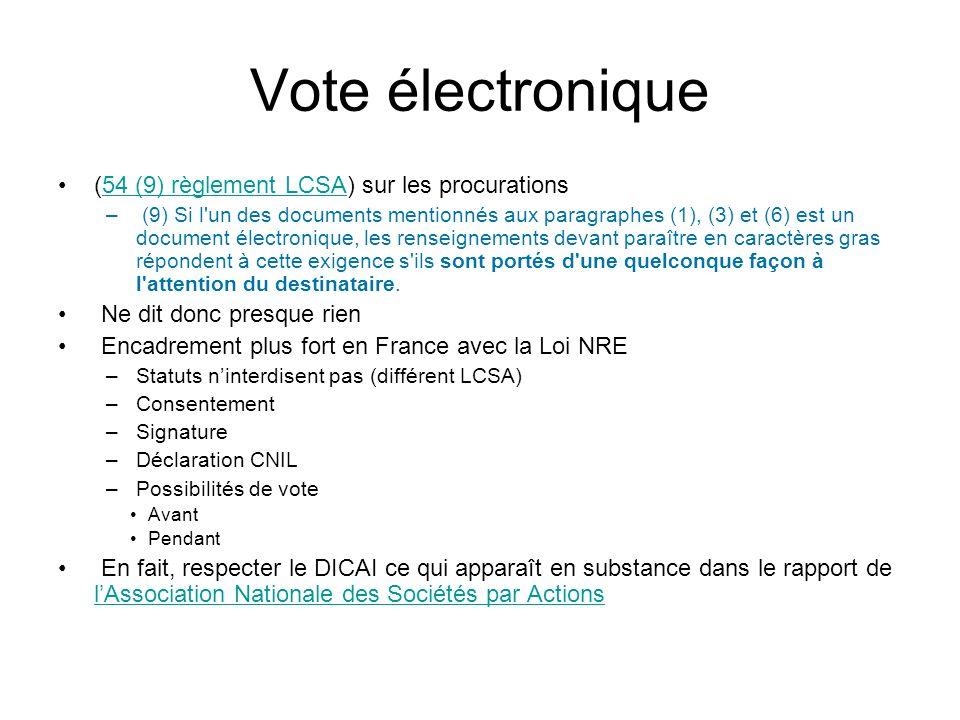 Vote électronique (54 (9) règlement LCSA) sur les procurations54 (9) règlement LCSA – (9) Si l'un des documents mentionnés aux paragraphes (1), (3) et