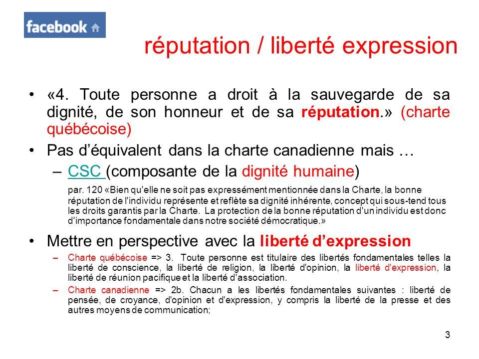 3 réputation / liberté expression «4. Toute personne a droit à la sauvegarde de sa dignité, de son honneur et de sa réputation.» (charte québécoise) P