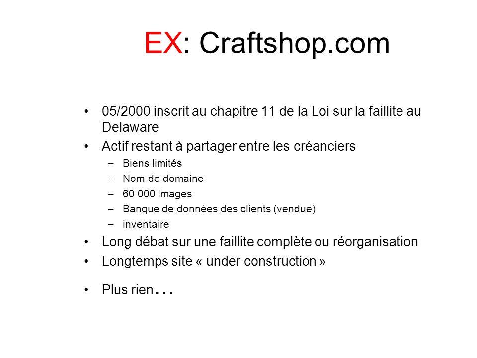 EX: Craftshop.com 05/2000 inscrit au chapitre 11 de la Loi sur la faillite au Delaware Actif restant à partager entre les créanciers –Biens limités –N