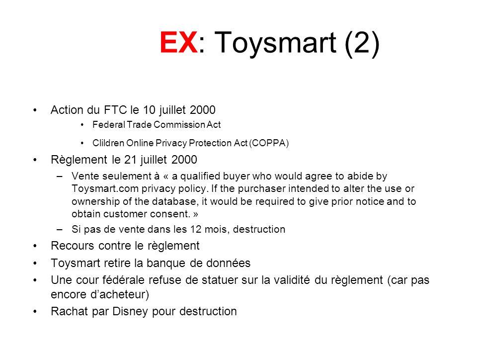 EX: Toysmart (2) Action du FTC le 10 juillet 2000 Federal Trade Commission Act Clildren Online Privacy Protection Act (COPPA) Règlement le 21 juillet