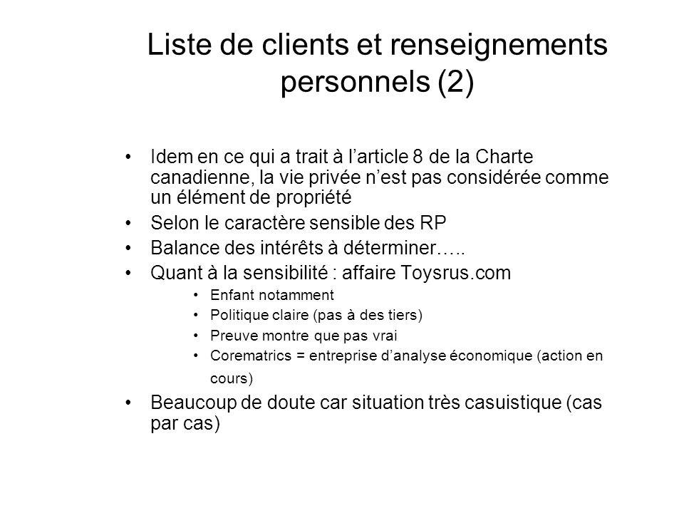 Liste de clients et renseignements personnels (2) Idem en ce qui a trait à larticle 8 de la Charte canadienne, la vie privée nest pas considérée comme