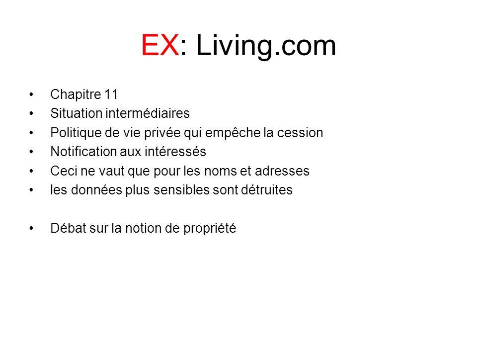 EX: Living.com Chapitre 11 Situation intermédiaires Politique de vie privée qui empêche la cession Notification aux intéressés Ceci ne vaut que pour l