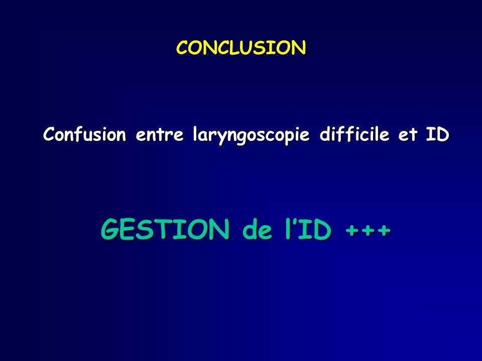 Confusion entre laryngoscopie difficile et ID GESTION de lID +++ CONCLUSION