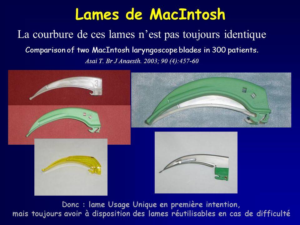 Lames de MacIntosh La courbure de ces lames nest pas toujours identique Comparison of two MacIntosh laryngoscope blades in 300 patients. Asai T. Br J