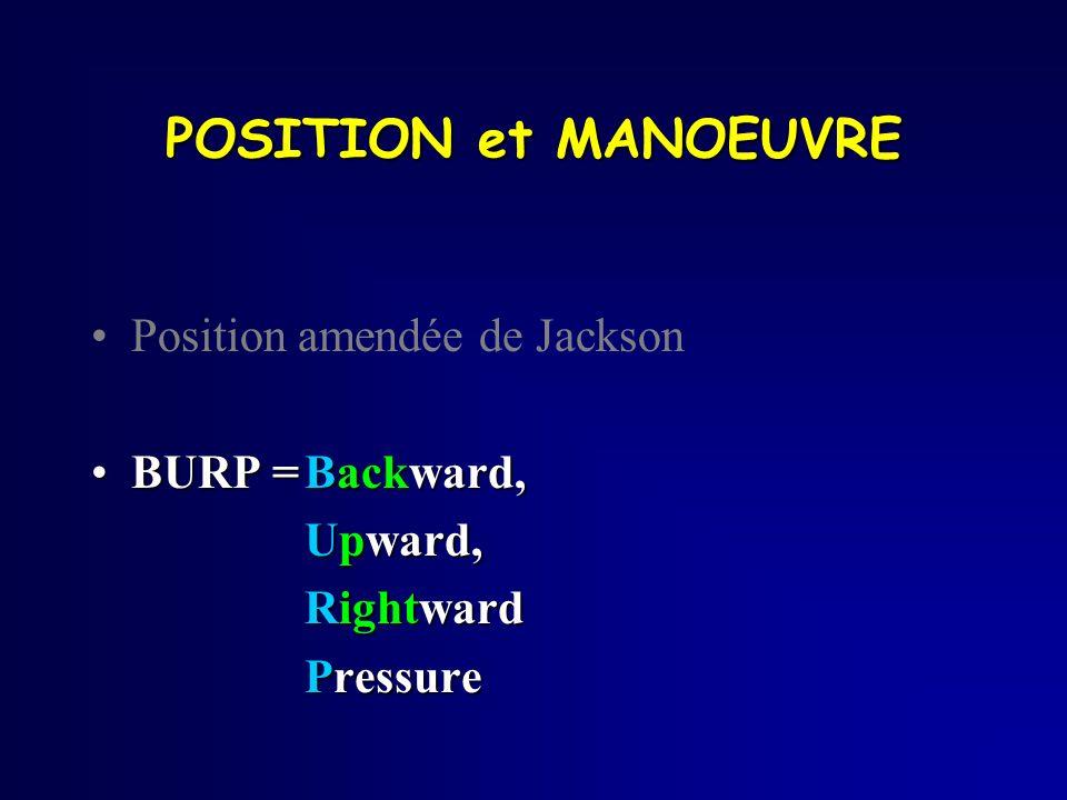 POSITION et MANOEUVRE Position amendée de Jackson BURP =Backward,BURP =Backward, Upward, Rightward Pressure