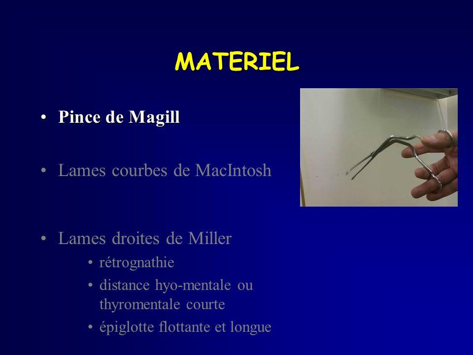 MATERIEL Pince de MagillPince de Magill Lames courbes de MacIntosh Lames droites de Miller rétrognathie distance hyo-mentale ou thyromentale courte ép