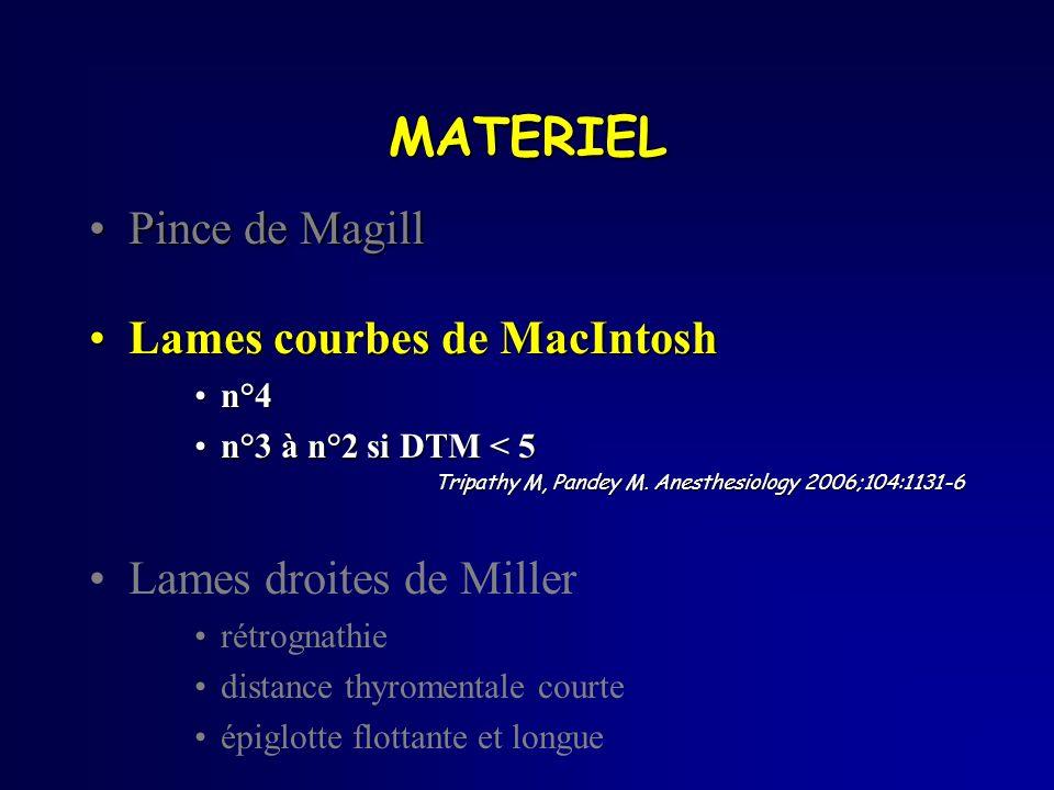 MATERIEL Pince de MagillPince de Magill Lames courbes de MacIntoshLames courbes de MacIntosh n°4n°4 n°3 à n°2 si DTM < 5n°3 à n°2 si DTM < 5 Tripathy