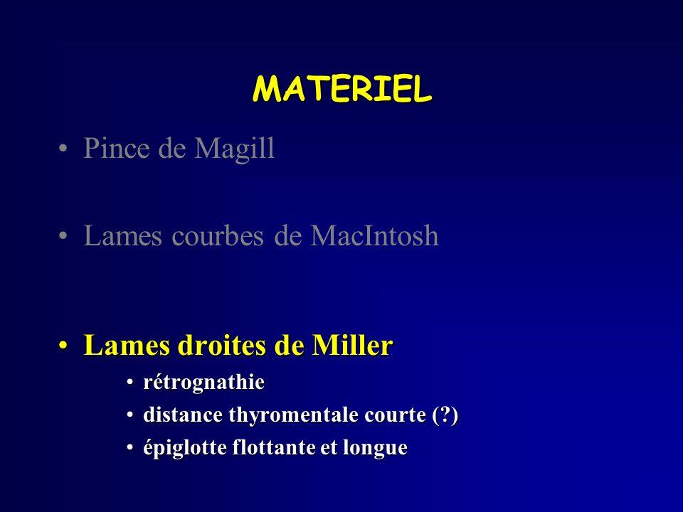 MATERIEL Pince de Magill Lames courbes de MacIntosh Lames droites de MillerLames droites de Miller rétrognathierétrognathie distance thyromentale cour