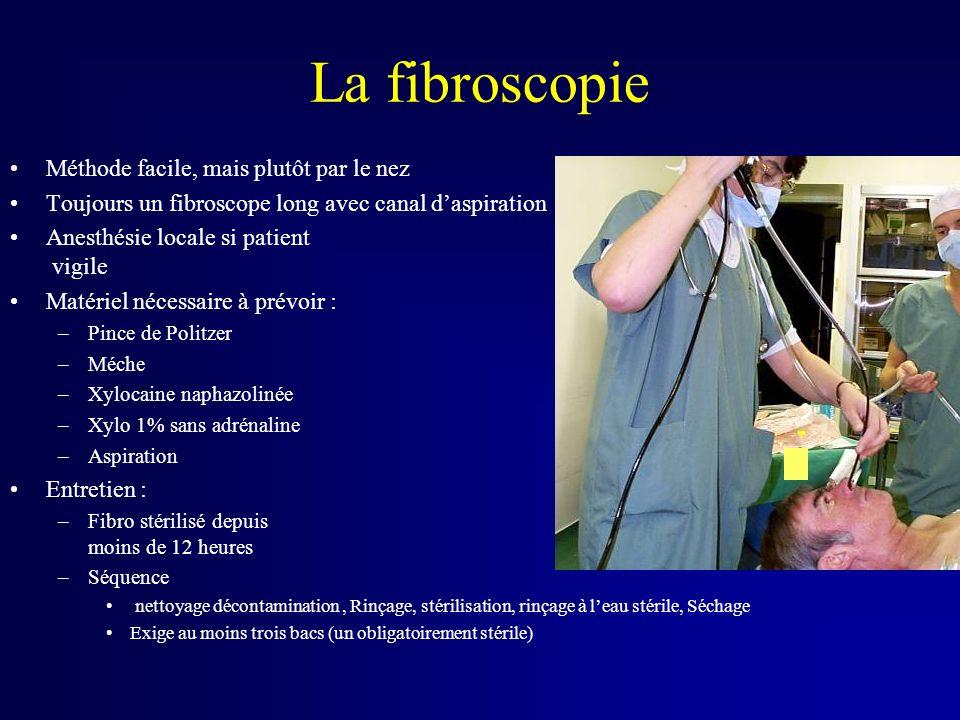 La fibroscopie Méthode facile, mais plutôt par le nez Toujours un fibroscope long avec canal daspiration Anesthésie locale si patient vigile Matériel