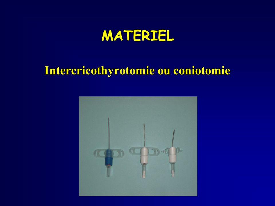 Intercricothyrotomie ou coniotomie MATERIEL