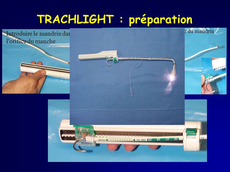 TRACHLIGHT : préparation Introduire le mandrin dans l'orifice du manche Aligner la glissière et le contacteur du mandrin