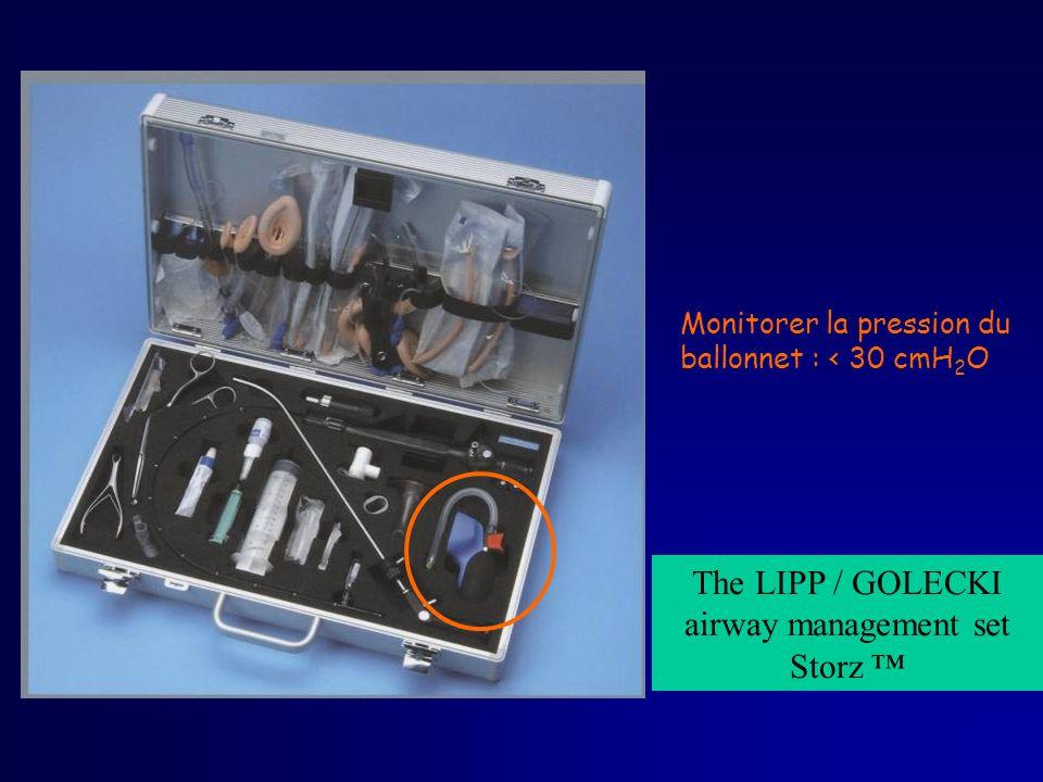 The LIPP / GOLECKI airway management set Storz Monitorer la pression du ballonnet : < 30 cmH 2 O