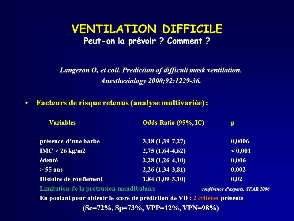 Langeron O, et coll. Prediction of difficult mask ventilation. Anesthesiology 2000;92:1229-36. Facteurs de risque retenus (analyse multivariée) :Facte