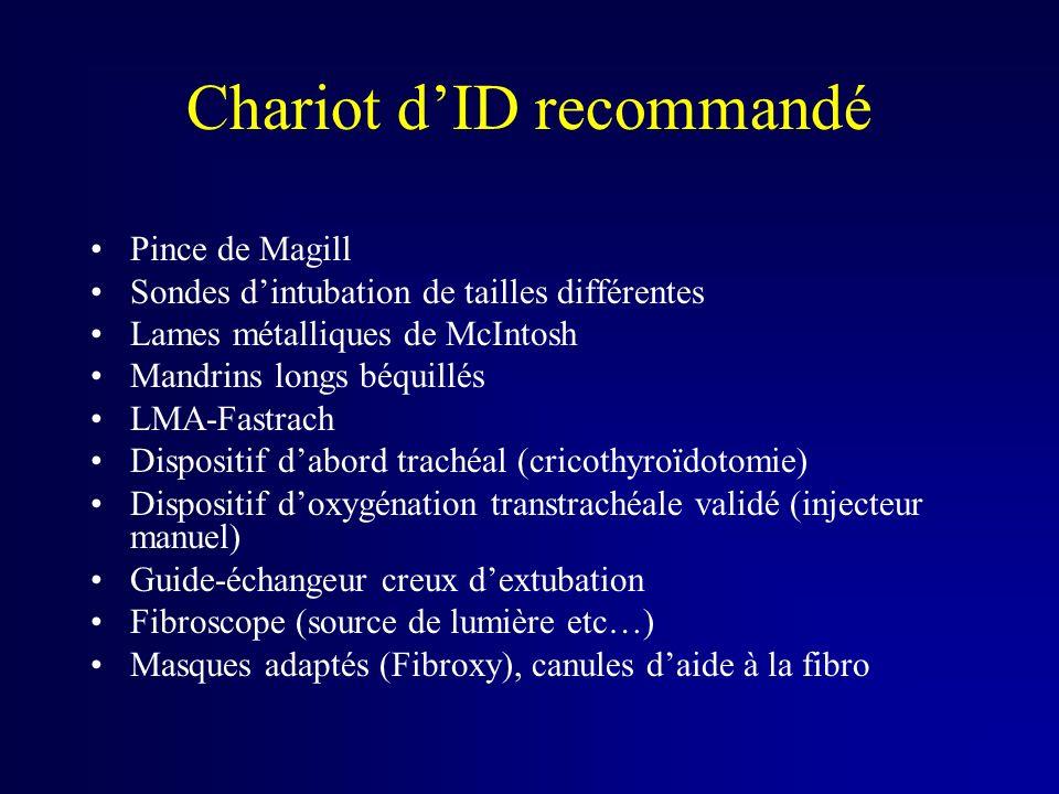 Chariot dID recommandé Pince de Magill Sondes dintubation de tailles différentes Lames métalliques de McIntosh Mandrins longs béquillés LMA-Fastrach D
