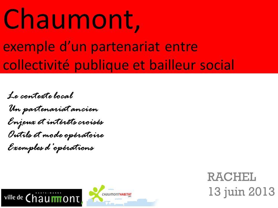 Chaumont, exemple dun partenariat entre collectivité publique et bailleur social RACHEL 13 juin 2013 Le contexte local Un partenariat ancien Enjeux et
