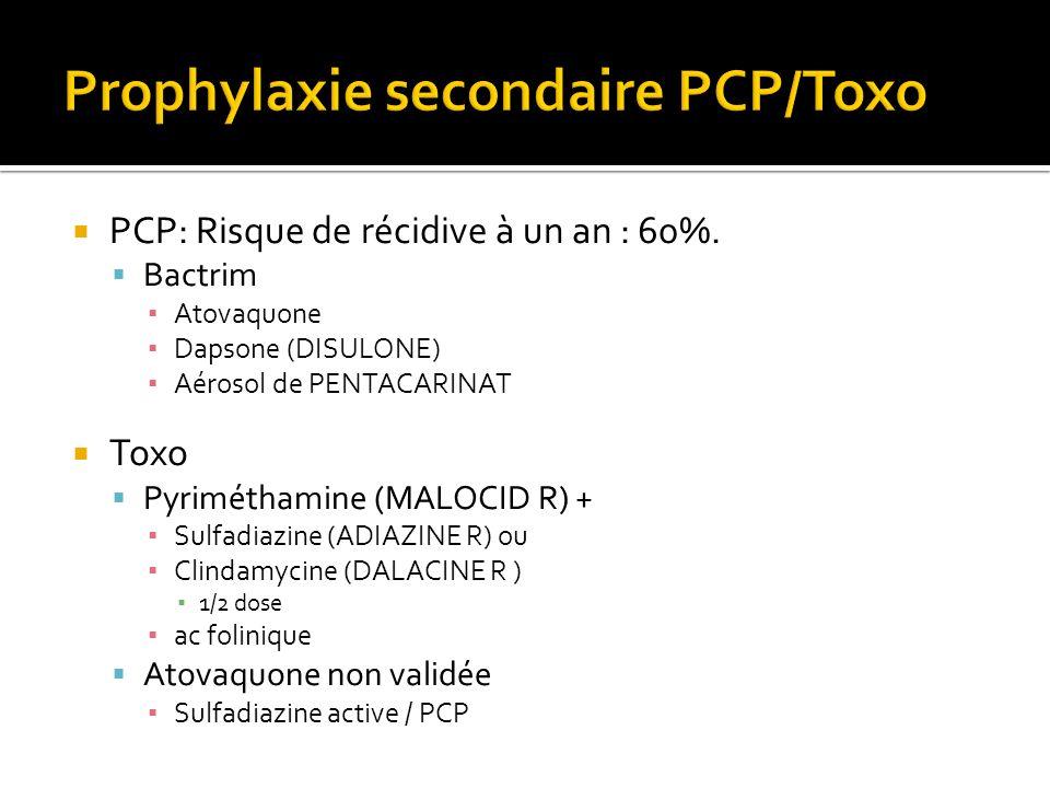 PCP: Risque de récidive à un an : 60%. Bactrim Atovaquone Dapsone (DISULONE) Aérosol de PENTACARINAT Toxo Pyriméthamine (MALOCID R) + Sulfadiazine (AD