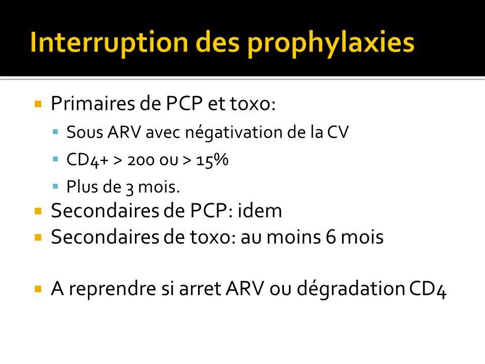 Primaires de PCP et toxo: Sous ARV avec négativation de la CV CD4+ > 200 ou > 15% Plus de 3 mois. Secondaires de PCP: idem Secondaires de toxo: au moi