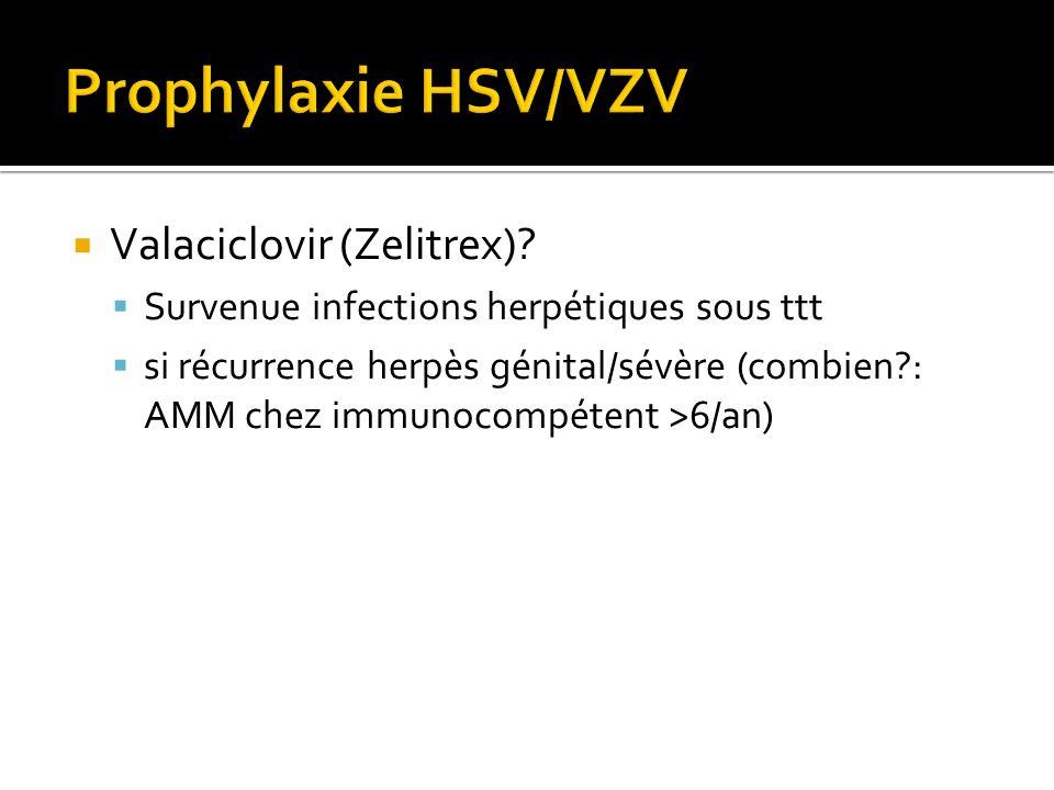 Valaciclovir (Zelitrex)? Survenue infections herpétiques sous ttt si récurrence herpès génital/sévère (combien?: AMM chez immunocompétent >6/an)