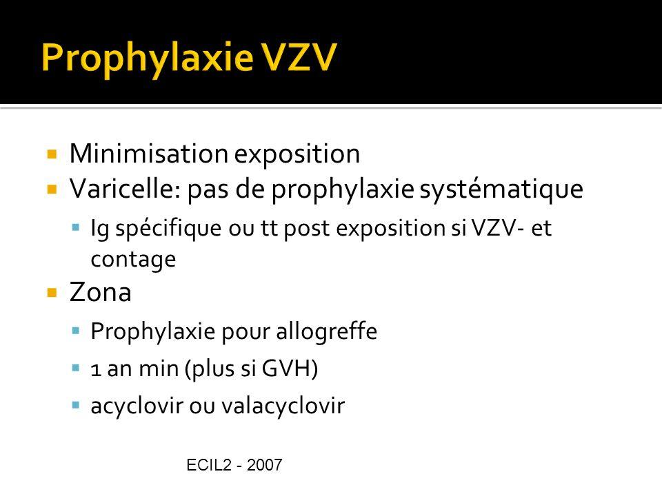 Minimisation exposition Varicelle: pas de prophylaxie systématique Ig spécifique ou tt post exposition si VZV- et contage Zona Prophylaxie pour allogr