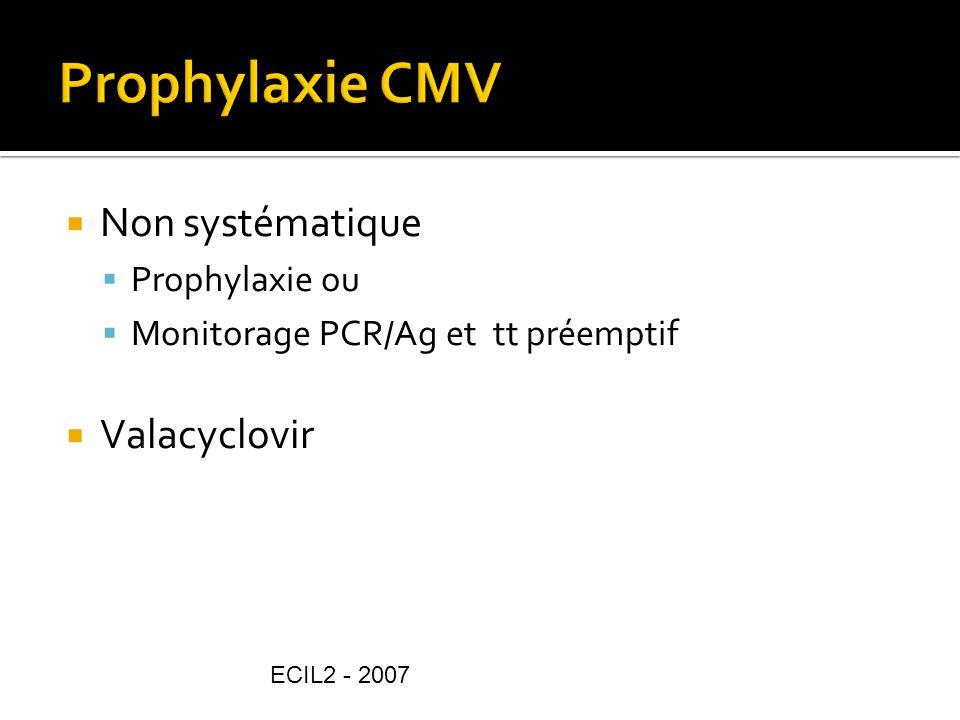 Non systématique Prophylaxie ou Monitorage PCR/Ag et tt préemptif Valacyclovir ECIL2 - 2007