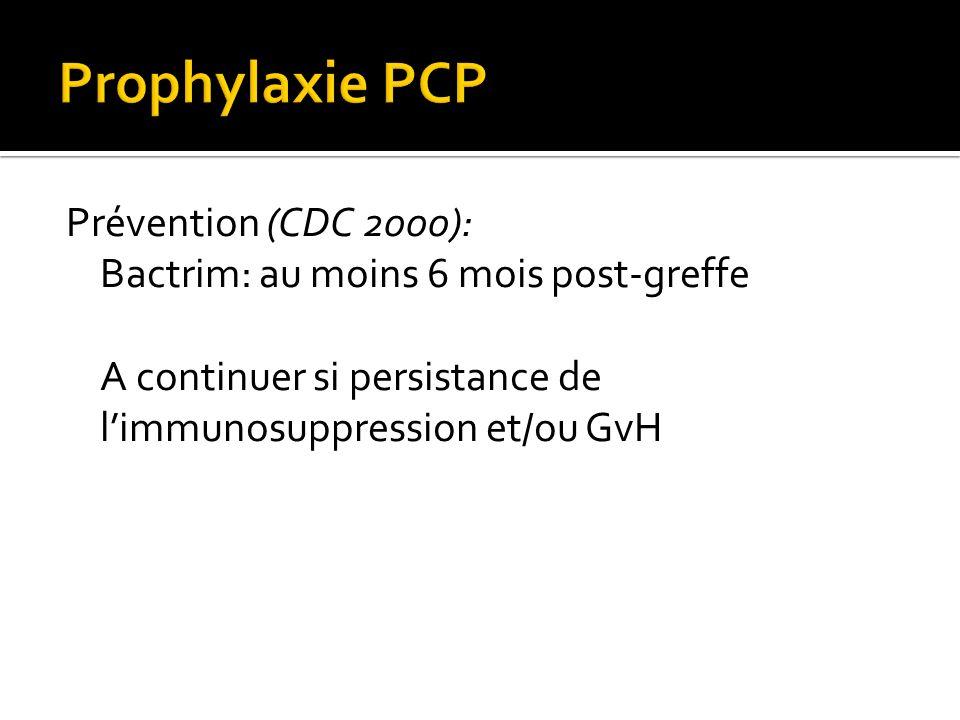 Prévention (CDC 2000): Bactrim: au moins 6 mois post-greffe A continuer si persistance de limmunosuppression et/ou GvH