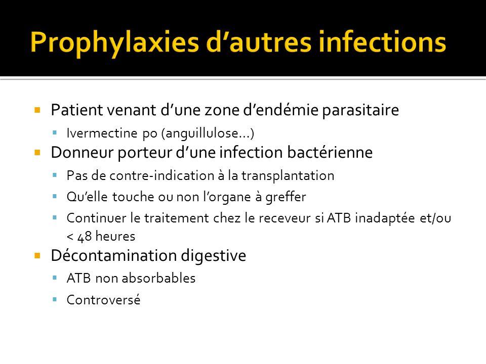 Patient venant dune zone dendémie parasitaire Ivermectine po (anguillulose…) Donneur porteur dune infection bactérienne Pas de contre-indication à la