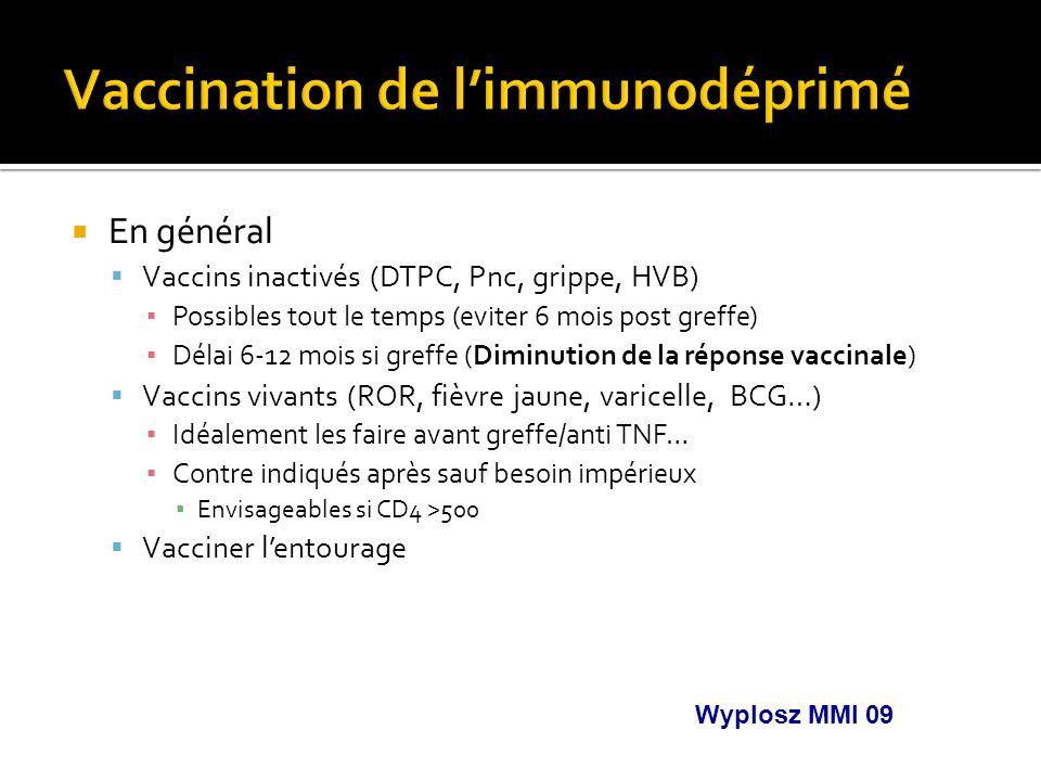 En général Vaccins inactivés (DTPC, Pnc, grippe, HVB) Possibles tout le temps (eviter 6 mois post greffe) Délai 6-12 mois si greffe (Diminution de la