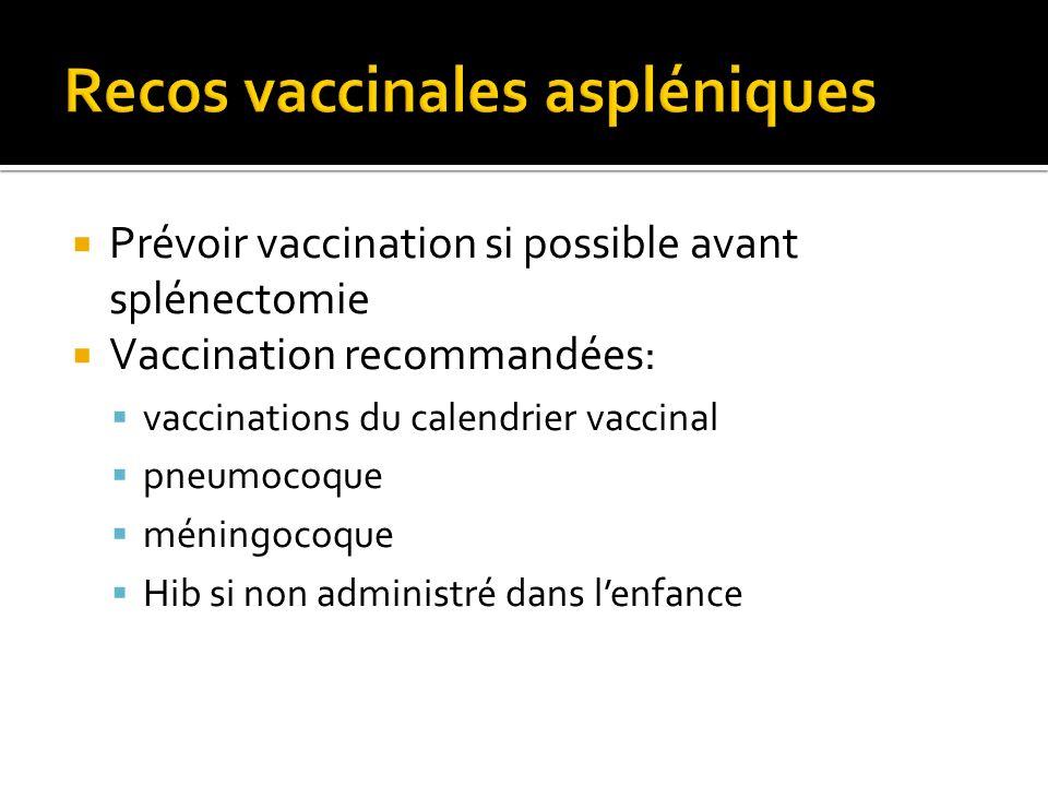 Prévoir vaccination si possible avant splénectomie Vaccination recommandées: vaccinations du calendrier vaccinal pneumocoque méningocoque Hib si non a