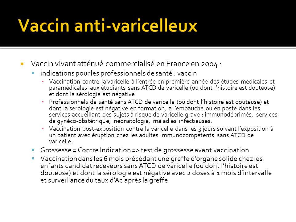 Vaccin vivant atténué commercialisé en France en 2004 : indications pour les professionnels de santé : vaccin Vaccination contre la varicelle à lentré