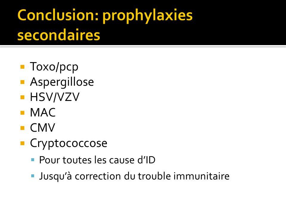 Toxo/pcp Aspergillose HSV/VZV MAC CMV Cryptococcose Pour toutes les cause dID Jusquà correction du trouble immunitaire