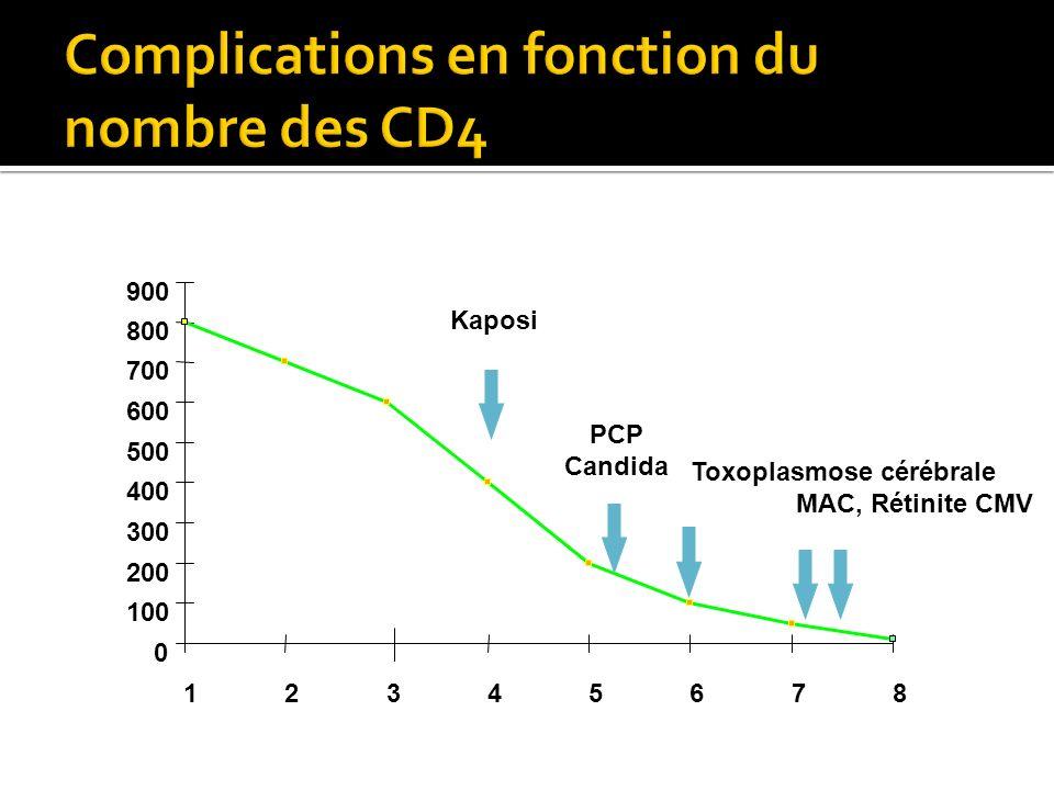 0 100 200 300 400 500 600 700 800 900 12345678 PCP Candida Toxoplasmose cérébrale MAC, Rétinite CMV Kaposi