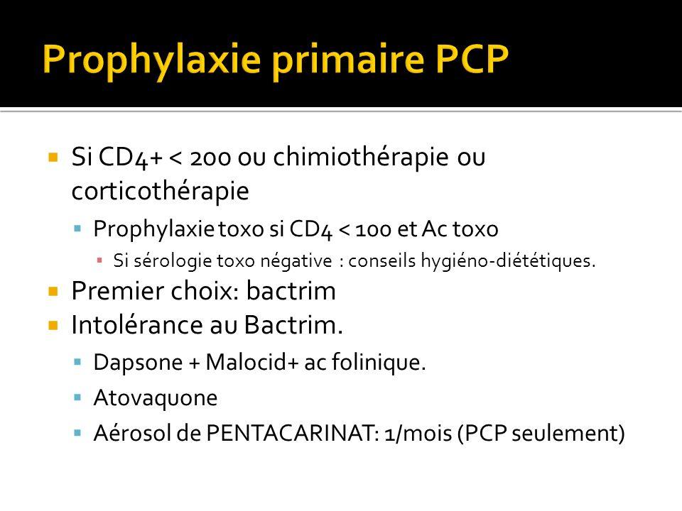 Si CD4+ < 200 ou chimiothérapie ou corticothérapie Prophylaxie toxo si CD4 < 100 et Ac toxo Si sérologie toxo négative : conseils hygiéno-diététiques.