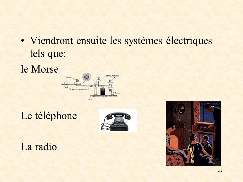 11 Viendront ensuite les systèmes électriques tels que: le Morse Le téléphone La radio