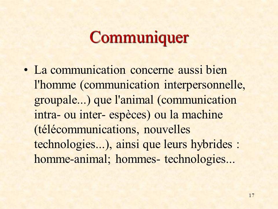17 Communiquer La communication concerne aussi bien l'homme (communication interpersonnelle, groupale...) que l'animal (communication intra- ou inter-
