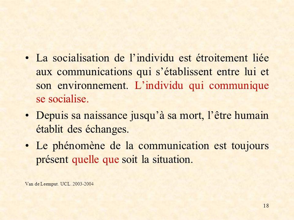 18 La socialisation de lindividu est étroitement liée aux communications qui sétablissent entre lui et son environnement. Lindividu qui communique se