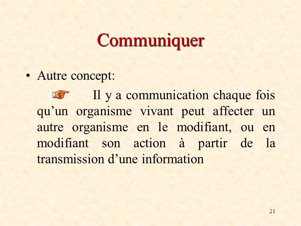 21 Communiquer Autre concept: Il y a communication chaque fois quun organisme vivant peut affecter un autre organisme en le modifiant, ou en modifiant