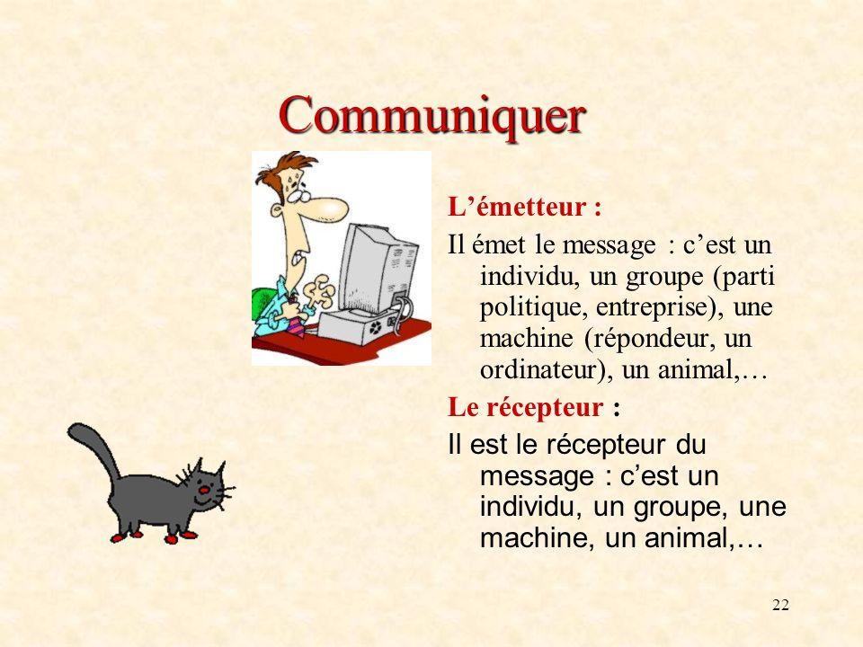 22 Communiquer Lémetteur : Il émet le message : cest un individu, un groupe (parti politique, entreprise), une machine (répondeur, un ordinateur), un
