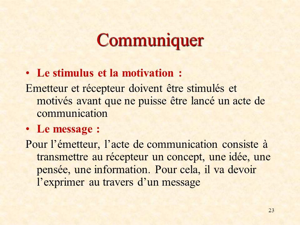 23 Communiquer Le stimulus et la motivation : Emetteur et récepteur doivent être stimulés et motivés avant que ne puisse être lancé un acte de communi