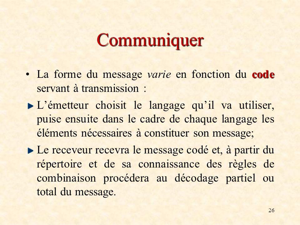 26 Communiquer codeLa forme du message varie en fonction du code servant à transmission : Lémetteur choisit le langage quil va utiliser, puise ensuite
