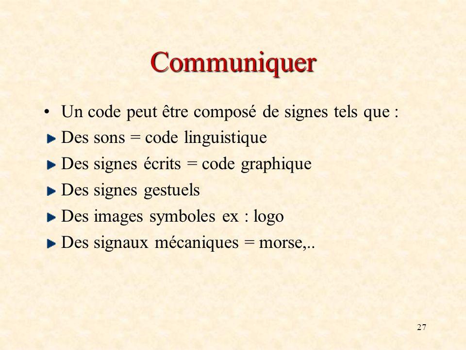 27 Communiquer Un code peut être composé de signes tels que : Des sons = code linguistique Des signes écrits = code graphique Des signes gestuels Des