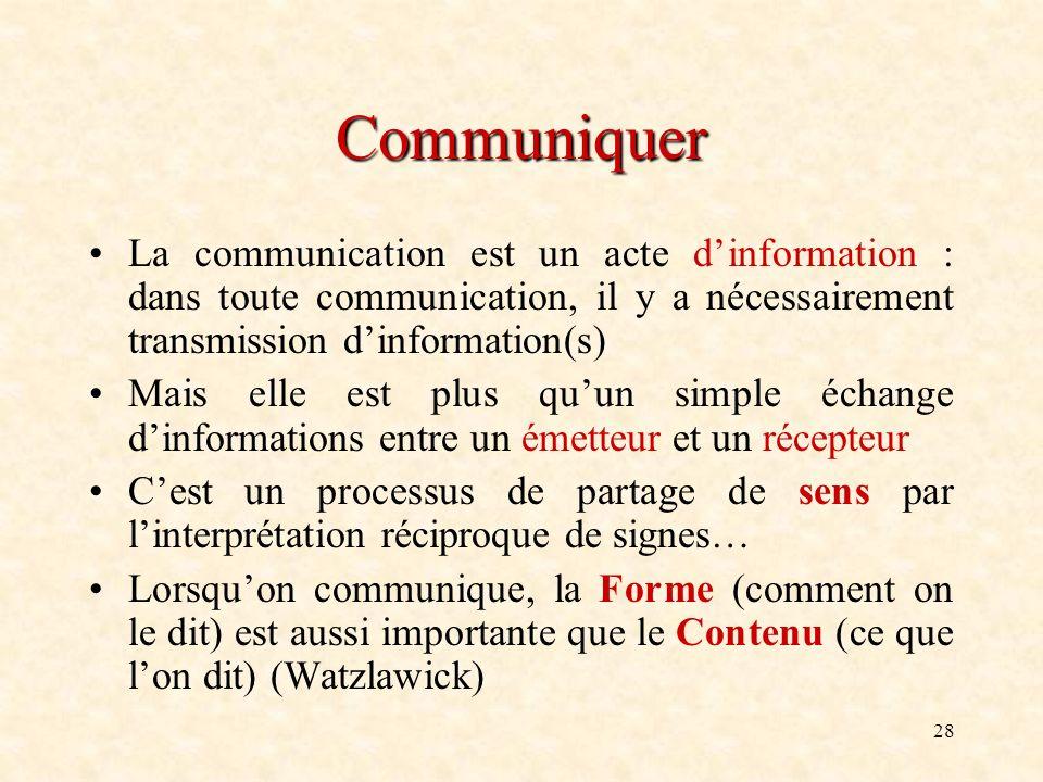 28 Communiquer La communication est un acte dinformation : dans toute communication, il y a nécessairement transmission dinformation(s) Mais elle est