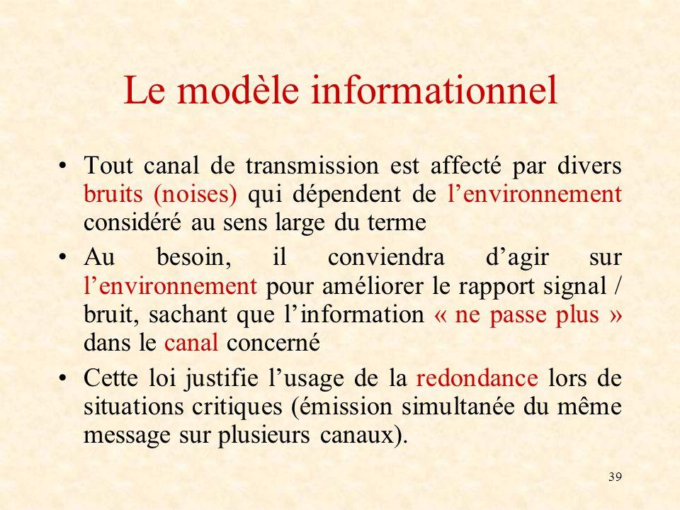 39 Le modèle informationnel Tout canal de transmission est affecté par divers bruits (noises) qui dépendent de lenvironnement considéré au sens large