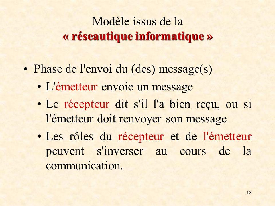 48 « réseautique informatique » Modèle issus de la « réseautique informatique » Phase de l'envoi du (des) message(s) L'émetteur envoie un message Le r