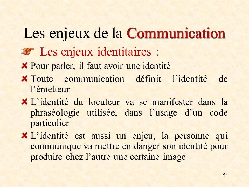 53 Communication Les enjeux de la Communication Les enjeux identitaires : Pour parler, il faut avoir une identité Toute communication définit lidentit