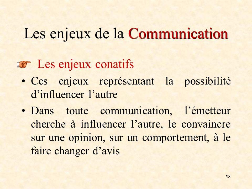 58 Communication Les enjeux de la Communication Les enjeux conatifs Ces enjeux représentant la possibilité dinfluencer lautre Dans toute communication