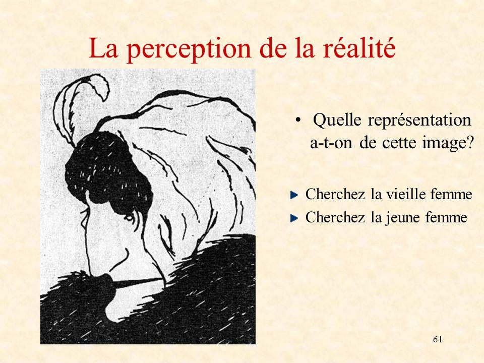 61 La perception de la réalité Quelle représentation a-t-on de cette image? Cherchez la vieille femme Cherchez la jeune femme
