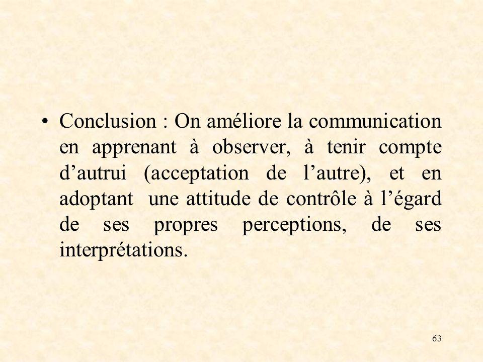 63 Conclusion : On améliore la communication en apprenant à observer, à tenir compte dautrui (acceptation de lautre), et en adoptant une attitude de c