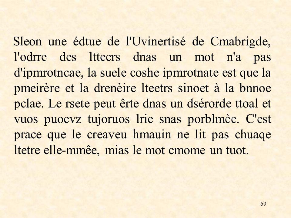 69 Sleon une édtue de l'Uvinertisé de Cmabrigde, l'odrre des ltteers dnas un mot n'a pas d'ipmrotncae, la suele coshe ipmrotnate est que la pmeirère e