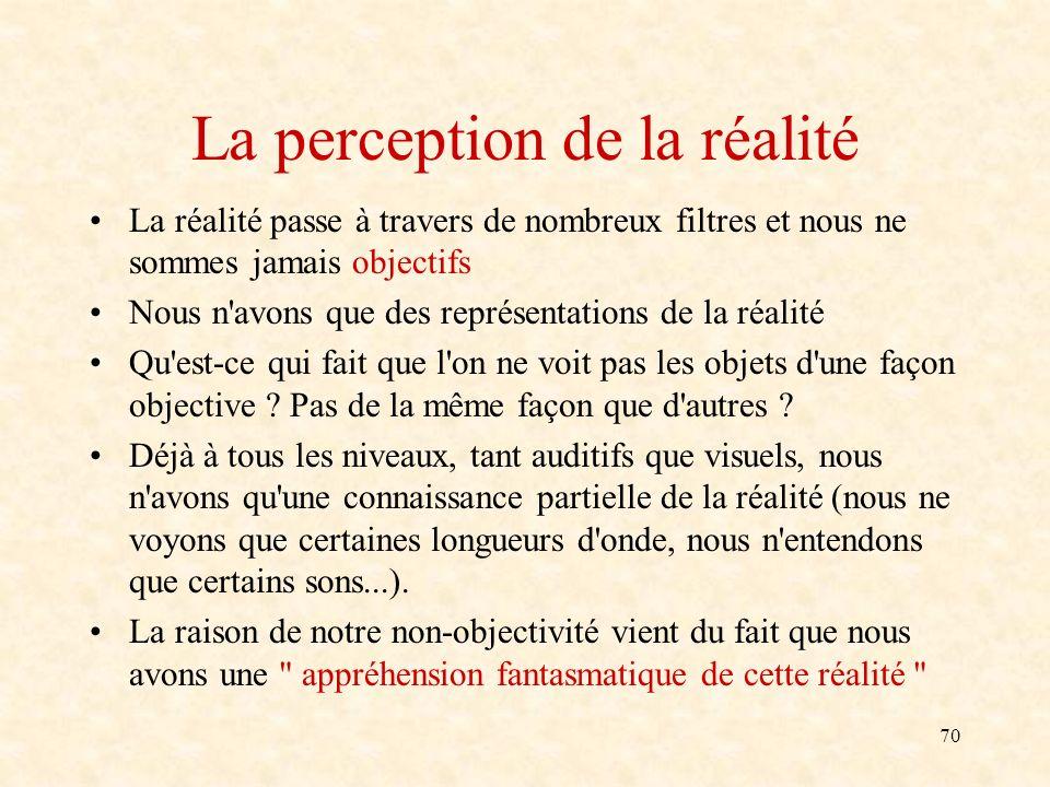 70 La perception de la réalité La réalité passe à travers de nombreux filtres et nous ne sommes jamais objectifs Nous n'avons que des représentations